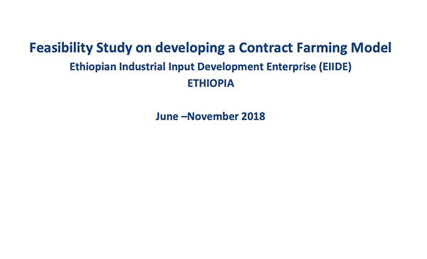 Feasibility study on developing contract farming model