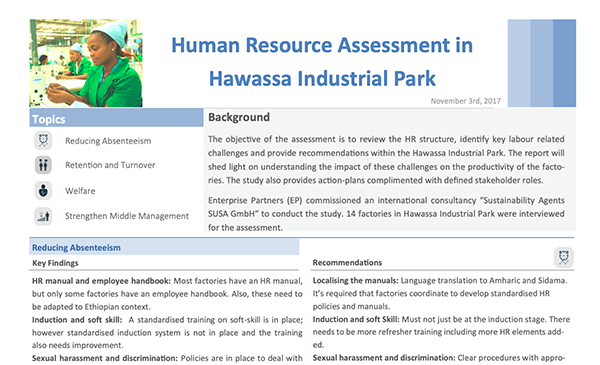 SUSA Report: Assessment of Workers' Satisfaction and HR Structure of Factories in the Hawassa Industrial Park